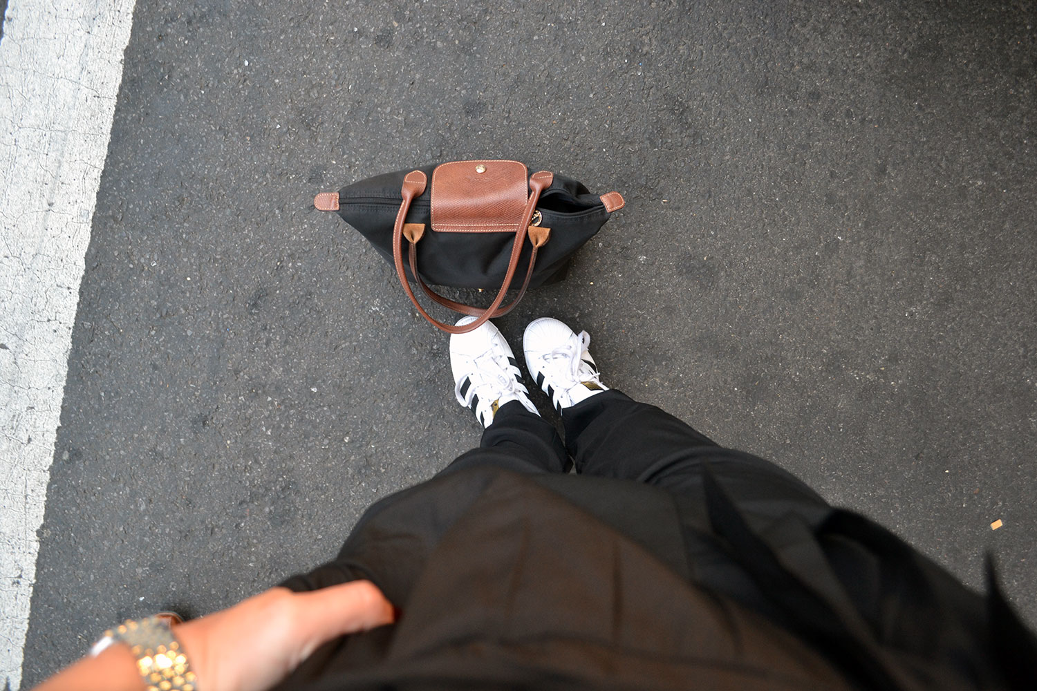 Outfit: Black Jumpsuit // Adidas Superstars | New York