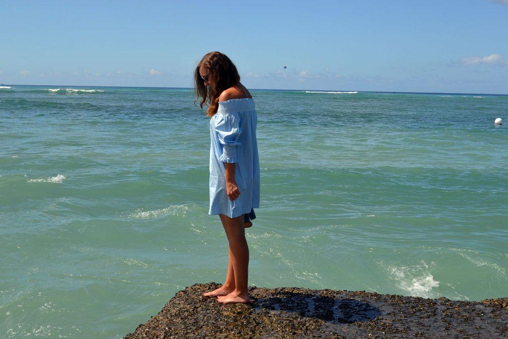 Outfit: Blue Off-Shoulder Dress   Hawaii - Off Shoulder Dress 1 1024x683