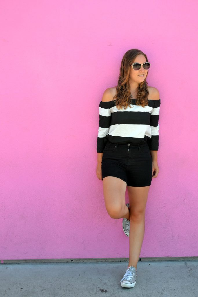 Outfit: Black & White Off Shoulder | Los Angeles - Off Shoulder 1 683x1024