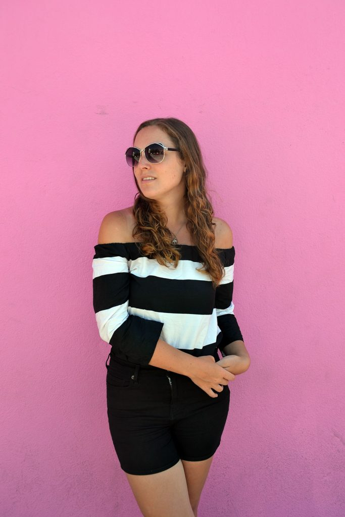 Outfit: Black & White Off Shoulder | Los Angeles - Off Shoulder 6 683x1024