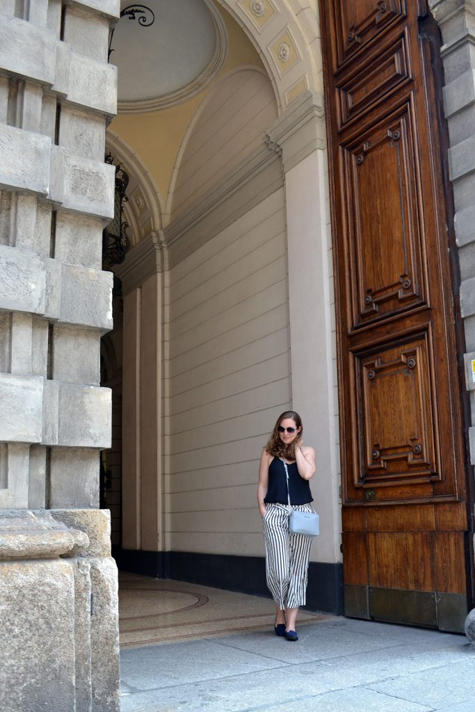 Outfit: Striped Culottes & Loafers | Milan - Striped Culottes 4 683x1024