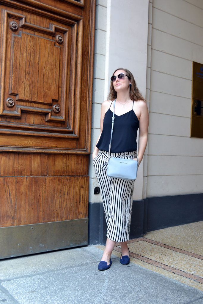 Outfit: Striped Culottes & Loafers | Milan - Striped Culottes 5 683x1024