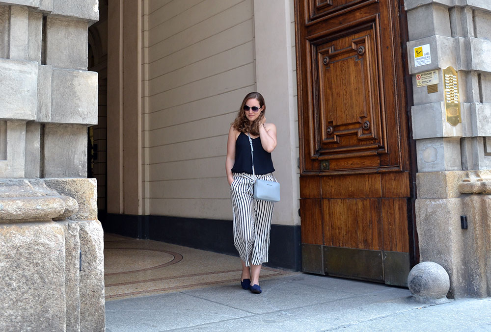 Outfit: Striped Culottes & Loafers | Milan